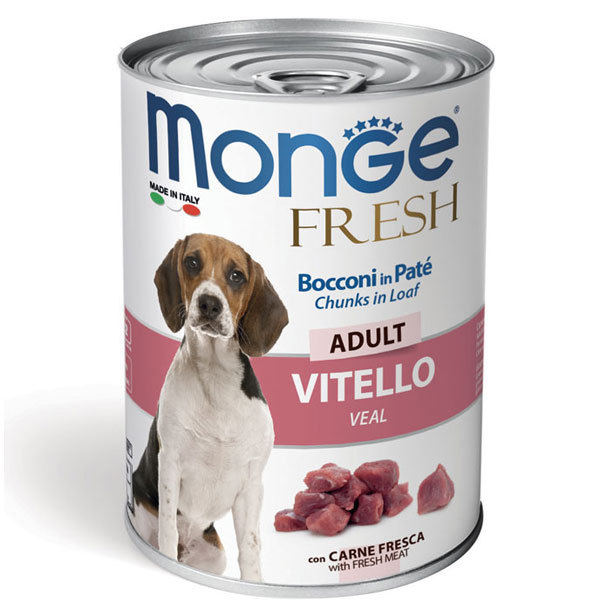 کنسرو سگ بالغ با طعم گوساله مونژه - Monge Fresh