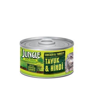 کنسرو غذای گربه حاوی مرغ و بوقلمون جانگل - JUNGLE Somon Karides