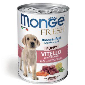 کنسرو توله سگ با طعم گوساله و سبزیجات مونژه - Monge Fresh