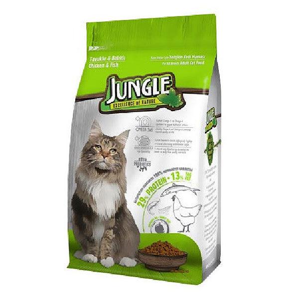 غذای خشک گربه جانگل با طعم مرغ و ماهی – Jungle Chicken & Fish